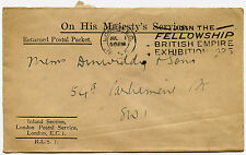GB 1925 WEMBLEY EXHIBITION FELLOWSHIP SLOGAN CANCEL..OHMS RETURNED POSTAL PACKET