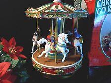 MR CHRISTMAS CAROUSEL HOLIDAY GO ROUND HORSES ANIMATED MUSICAL VINTAGE 1997