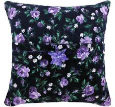 Tooth Fairy Pillow, black, rose print fabric, purple flower bead trim for girls