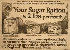 YOUR SUGAR RATION IS 2 Ibs PER MONTH British WW1 Propaganda Poster