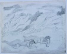 """Two Nudes on a Beach Below Sand Dunes-29 x 23"""" Drawing-1963-August Mosca"""