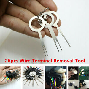 26Pcs Motorcycle Scooter Wire Terminal Removal Tool Wiring Connector Pin Puller