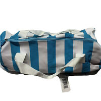 Brand New Womens Pureology Canvas Tote Bag Blue / White Stripes Summer Beach