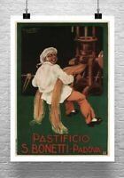 Pastificio Bonetti Vintage Italian Pasta Poster Giclee Print on Canvas or Paper