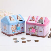 Creative Cartoon Small Tin House Cute Piggy Bank Money Box Saving Bank Kids Gift