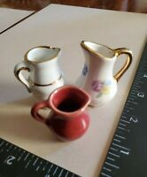 1940's Vintage Miniature Porcelain Ceramic Pitcher Lot Of 3