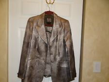 Escada couture shiny gray color skirt suit