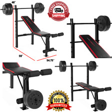 Fitness Bench With Weight Set 140lb Gym Barbell Equipment Home Workout Exercise