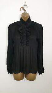 Diane Von Furstenberg Size 10 ( UK Size 14 ) Black Pleated Smart Top Blouse