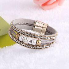 Fashion Pearl Rhinestone Beaded Bangle Multi-layer Leather Bracelet