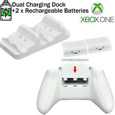 for XBOX ONE Controller Charger Dual Charging Dock+2x Rechargeable Battery White