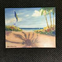 Shadow Beach Hand Painted Original Oil Painting by Del Ponte Ocean palm trees