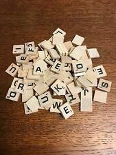 85 wood wooden SCRABBLE tiles board game pieces crafts replacements letters ABC