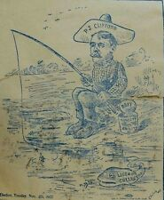 C. 1900 Political Campaign Sticker P. J Clifford Fishing Pole Worm-Bait F93