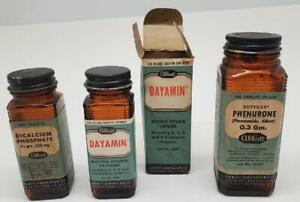 Vintage Abbott Medicine Bottles w/ Labels 1940s Lot x 10 Sulfa Nembu-donna more
