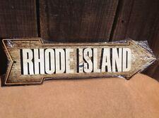 "Rhode Island Flag This Way To Arrow Sign Novelty Metal 17"" x 5"""