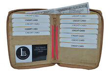 LEATHER WALLET HIPSTER ALL AROUND ZIPPER NEW TAN GIFT IDEA HOLDS 13 CARDS