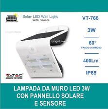 V-TAC VT-768 LAMPADA DA MURO LED 3W CON PANNELLO SOLARE E SENSORE - SKU 7523