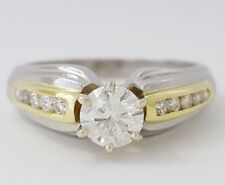 0.65 ct Vintage Platinum & 18K Yellow Gold Round Cut Diamond Anniversary Ring