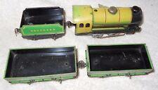 RARE Chad Valley England No 10063 Windup Tin Litho Locomotive Tender 2 Gondolas