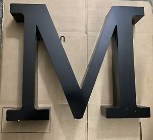 """18.5"""" Industrial salvage Block Letter M Sign  Metal Letter black/white Reclaimed"""