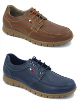 Men New Blue Brown Leather Lace Up Synthetic Leather comfort Shoes 6 7 8 9 10 11