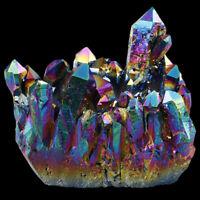 Titanium Coated Rainbow Quartz Cluster Specimen Gemstone Ornament Healing Reiki