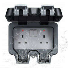 OUTDOOR BATHROOM WALL MOUNT IP66 WATERPROOF 13A 2 GANG SWITCHED DOUBLE SOCKET