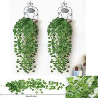 Grün 2.4M Hängepflanze Künstliche Efeuranken Kunstpflanzen Rattan Blatt Deko Neu