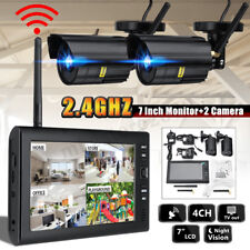 7'' LCD Monitor DVR Motion Digtal Wireless CCTV Camera Home Security System Kits
