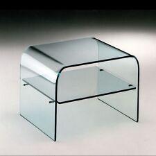 GROUP DESIGN tavolino/comodino Washington vetro trasparente con ripiano VT013