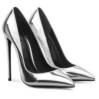 Women's Patent Leather Stilettos Pointy Toe Slip On Pumps High Heels OL Shoes
