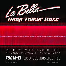 LA BELLA 750N-B BLACK NYLON TAPE WOUND BASS STRINGS, light gauge 5's - 50-135