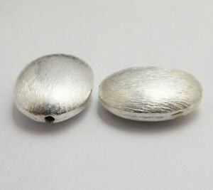 8 PCS 18X15X7MM OVAL SPACER BRUSHED BEAD STERLING SILVER PLATED 158 UFL-126
