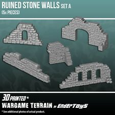 Ruined Stone Wall Set A, Tabletop 28mm Miniatures Wargame 3D Printed & Paintable