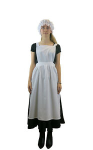 Ladies Victorian Edwardian Apron -  Maids Fancy Dress Costume Optional Mop Hat