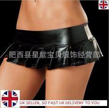Women's Sexy Lingeries Faux Leather Shiny Micro Mini Skirt Clubwear Party Dress