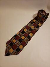 Courchevel by Damon Men's Vintage Neck Tie Burgundy Tan Blocks 100% Silk X Long