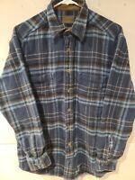 St. John's Bay Brawny Flannel Long Sleeve Men's Shirt Blue Plaid Size Medium M