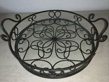 Southern Living At Home Cast Iron Jamestown Tray w/Glass Insert