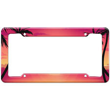 Tropical Beach Palm Tree Sunset Pattern License Plate Frame