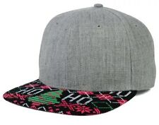 Christmas Print Snapback Hat One Size Fits All green red gray HO HO
