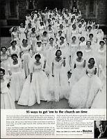 1963 Church wedding day brides Bulova diamond watch vintage photo print ad adL94