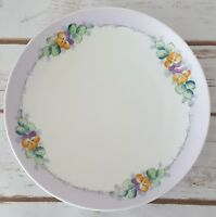 Meito China Handpainted Plate Made In Japan Pansies Purple Trim Floral 7 3/4""