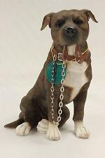 Brindle / Brown Staffordshire Bull Terrier Dog Ornament 'Walkies' by Leonardo BN