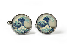 GREAT WAVE Hokusai - Glass Picture Cufflinks – Silver Plated Picture Jewellery