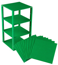 "Lego Base Plates Brick Building Stackable Tower Mega Bloks 10 Pack 6"" x 6"" Green"