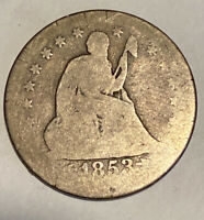 1853 Rays and Arrows Seated Liberty Quarter - .900 Silver US Type Coin L1