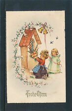 Glückwunsch-Karte Ostern, Engel läutet Glocke,Mädchen mit Blumen   2/4/15