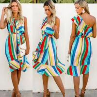 Womens Ladies Rainbow Striped One Shoulder Summer Frill Beach Midi Dress AU